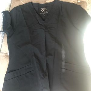 Black medical scrub shirt